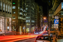 st. mary's square garage (pbo31) Tags: bayarea california nikon d810 color boury pbo31 sanfrancisco city night black motion dark urban lightstream movement traffic roadway chinatown californiastreet financialdistrict nobhill infinity red parking stmarys garage 2018