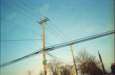 (Jeremy Whiting) Tags: analog film kodak gc400 mound sky blue detroit warren sterling heights wires lines abstract new topographics canon ae1 35mm drive by cityscape art dusk winter autumn michigan great lakes