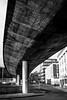 flyover (Chilanga Cement) Tags: fuji fujix100f xseries x100f bw blackandwhite liverpool monochrome street streetphotography concrete cement pillar