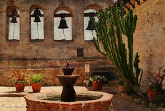 Four Bells at San Juan (socalgal_64) Tags: history carolynlandi california socal sanjuancapistrano historicalsite structure old antique bells mission church settlement religious fountain desert garden cactus landmark spanishmission spanish fourbells chapel elcaminoreal usa architecture