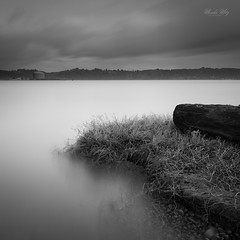 At Yaquina Bay (Masako Metz) Tags: yaquina bay newport south beach oregon coast pacific northwest usa nature water longexposure blackandwhite monochrome square format landscape seascape driftwood grass