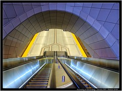 Ascending of Descending - Daily Photo by Robson Smith (DRSmithFoto) Tags: publicart publicspace escalators escalator industrialdesign urbandesign justopened new ttcline1 line1 torontotransitcommission subwaystation subway toronto drsmithfoto