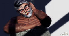 quiet (cocolinox decuir) Tags: avatar men guy sexy slink mesh doux dude smoke shadow seconflife sl tatoo beard bearded