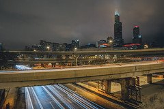February 10, 2018 Light Trails (tylerjacobs) Tags: sony a6000 samyang rokinon 12mm f20 ultra wide angle long exposure light trails chicago downtown city lights urban cityscape winter cold night nightsky bustlin bustling willis tower sears interstate highway freeway roads lines