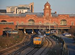 Quarter To Five (whosoever2) Tags: uk united kingdom gb great britain nikon d7100 train railway railroad february 2018 gbrf class66 66703 6m81 immingham ratcliffe nottingham station sunset evening sun clock