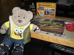 Mum sez 'vintage', I sez 'old' (pefkosmad) Tags: jigsaw puzzle hobby leisure pastime 408pieces secondhand used incomplete crusaderpuzzle yorkshirepullman train tedricstudmuffin teddy ted bear animal toy cute cuddly soft stuffed plush fluffy