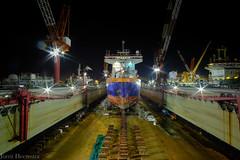 front view of dredger (photojorrit) Tags: fujifilm xt2 singapore samyang technical engineering shipyard docking long shutter exposure f20 12mm wharf night shot great angle