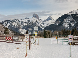 ski entrance Teton Canyon winter