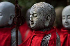The Statue Guard of Engyo-ji (kieranburgess) Tags: stone tradition asia buddhist scarf cultural shrine religion religious engyoji closeup statue red culture japanese crowd buddhism temple japan