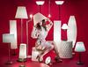 Selfilluminated (V.Duplain) Tags: lamp lamps shade legs light lights stand del incandescent beige white red background creative self portrait autoportrait montreal quebec canada girl model studio woman sitting sit