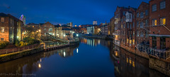 Leeds in the Blue Hour (jasonmgabriel) Tags: leeds river aire reflection water buildings blue night panorama