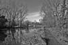 Winter Riverside scene,Essex (onlygwuk) Tags: river path trees winter blakandwhite monochrome sky branches reflections water