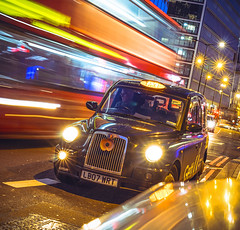 London Bus v London Taxi (danpower123) Tags: london londoners taxi light line long exposure sony a6000 colour colourful night photography photographer movement streaks bus red orange