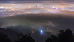 Fog over Hatyai city at night, Songkla, Thailand (ben42894) Tags: fog city mist rain blue light movement unseen miracle timelapse clip mountain forest thailand asia nature tree night cloud sea hatyai beautiful color colorful