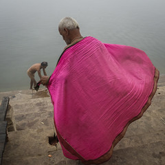 Pink (SaumalyaGhosh.com) Tags: pink man people water india benaras varanasi color street streetphotography