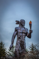2018 Feb 16 Glooscap Statue (janicering578) Tags: glooscap mythological hero native outdoors sky statue trees torch