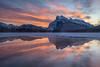 Vermilion Dawn (WherezJeff) Tags: d850 waskahiganwatchi mountrundle vermilionlakes reflection