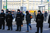 Police protecting an order on a march (psvrusso) Tags: forces order people editorial police street event security protection safety uniform surveillance group preparation power locations spectator standing moscow russia policeman cop procession opposition memory politician boris nemtsov killed murder