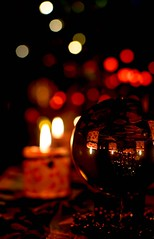 Crystalball By Candle Light (daynawines) Tags: stilllife candle light longexposure reflection boken crystal crysalball beeds macro bokeh
