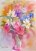"""A """"Spot of Color"""" (PDX Bailey) Tags: water color watercolor painting flower vase multi art artist orange yellow purple blue pink rainbow"""