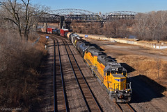 "Eastbound Transfer in Kansas City, MO (""Righteous"" Grant G.) Tags: up union pacific railroad locomotive train trains east eastbound transfer freight emd power kansas city missouri"