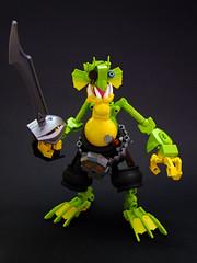 Ol' Murgley One Eye (Djokson) Tags: fishman fish man monster creature pirate plunderer cutlass yellow green black eyepatch sword mutant lego moc bionicle toy djokson