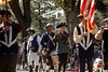 55-431 (ndpa / s. lundeen, archivist) Tags: nick dewolf nickdewolf photographbynickdewolf 1973 1974 1970s color 35mm film 55 reel55 boston massachusetts ma columbusday parade columbusdayparade october fall autumn flag americanflag colorguard band fifeanddrumcorps fife flute musician musicians player players drum drummer drumming pipe pipesmoking pipesmoker man men costume costumed costumes militia military patriot patriots hat hats tricorn tricorns vest vests flags people onlookers youngman