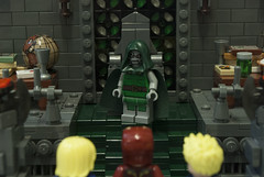 Confronting Doom (Ben Cossy) Tags: lego fantastic four ff f4 victor von doom sentry iron man tony stark captain marvel carol danvers castle throne room fire flag stained glass window mcu comic comicbook
