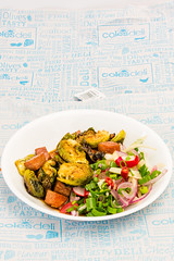 Friday dinner. Crispy Balsamic Brussels sprouts with Spam and a spicy limey fennel salad 💚 Portrait (garydlum) Tags: limezest belconnen parsley iodisedsalt limejuice fennel coriander balsamicvinegar fennelsalad spam brusselssprouts radish springonions canberra redonion birdseyechillies