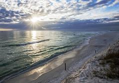 Sun Burst (lightonthewater) Tags: sand sunset sun lightonthewater beach panamacitybeach gulfofmexico ocean clouds standrewsstateparkfl sky seaoats