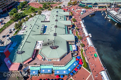 Aerial view of the Baltimore Inner Harbor shopping mall,  Baltimore, Maryland, (Remsberg Photos) Tags: event festival innerharbor outdoors aerial drone highangle baltimore harbor architecture modern urban waterfront outdoor boatsmoored citylife city tourism mall shopping maryland usa