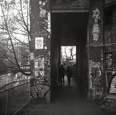 2 Shadows (benedikthölper) Tags: agfa click ii ilford panf pan achromat film analog analogue shadows people graffitti caffenolcm caffenol epson v600 berlin 6x6 120 medium format