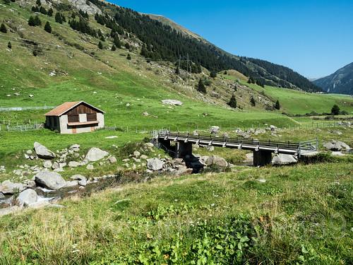 RHE098 Plauns Cattle Bridge over the Medelser Rhein (Froda) River, Platta / Medel, Grisons, Switzerland