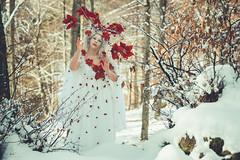 "TEATRONATURA ""The Spirit of winter"" (valeriafoglia) Tags: model makeup spirit winter wood snow magic art atmosphere ethereal white red outfit creative colors composition capture creature photography photo beautiful beauty fantasy fairy forest"