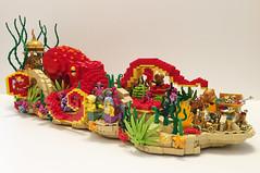 Rose Parade Float (Parks and Wrecked Creations) Tags: bricksla pasadena rose parade lego float undersea mermaid neptune divers treasure coral reef octopus
