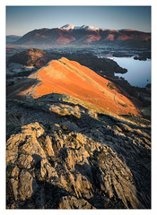 Fell Walker at Sunrise (Dave Fieldhouse Photography) Tags: catbells walker hike hiking fellwalking person lake lakedistrict lakes cumbria skiddaw cumbrianmountains keswick sunrise derwentwater snow cold winter dawn colour clear clearsky path light shadows fuji fujixt2 fujifilm wwwdavefieldhousephotographycom