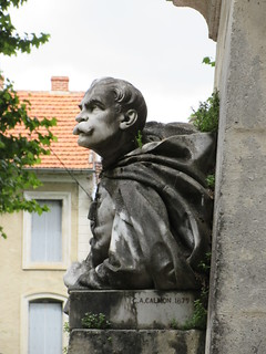 Statue with moustache, Franco-Prussian War memorial, Place Lafayette, Cahors, France