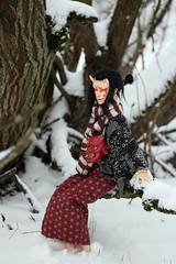 Son in winter (Mamzelle Follow) Tags: yamaji yokai oni redoni handmadewig handmademask miracledollbaiye jiedoll bjd abjd winter snow