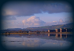 Dalmuir (Rollingstone1) Tags: dalmuir scotland shipyard johnbrown clydebank riverclyde river water flats buildings landscape hills sky clouds bridge erskinebridge westdunbartonshire