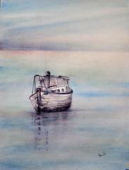 Una barca y un amanecer (benilder) Tags: barca boat watercolor watercolour aquarelle acuarela sail sea benilde