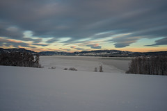 Norwegian nature (explored) (steffos1986) Tags: sky landscape snow ice frozen winter sunset mountain sun down light lake fjord norway norwegen noruega europe scandinavia gjøvik mjøsa farmland bridge explore travel turism january nikon d800 nikkor28mmf28ai