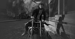 Up for a ride? (Markthedark SL) Tags: bw bnw monochrome me motorcycle sl second life blackandwhite