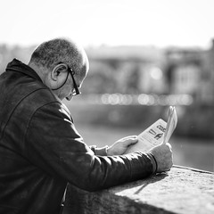 News With a View (Breeze of the Dene) Tags: man news newspaper read florence firenze italy italia ponte vecchio street candid bokeh