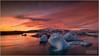 JOKULSARLON GLACIAL LAGOON (vieribottazzini) Tags: iceland islanda jokulsarlon sunset tramonto landscape beauty colour colours workshop longexposure postprocessing iceberg glacial lagoon dusk nordic seascape water flickrunitedaward