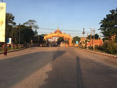 Myanmar, Bago Region, Taungoo District, Taungoo Township, Taungoo Town (Die Welt, wie ich sie vorfand) Tags: myanmar burma bagoregion bago eastbago taungoodistrict taungootownship taungootown taungoo bicycle cycling gate citygate monk shadow