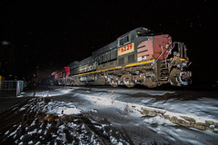 EsPee in MKE (Nick Brown Photography) Tags: train railroad railfanning locmotovie photogrpah photo night snow ge ac4400cw southernpacific sp up union paicif pacific milwaukee wisconsin