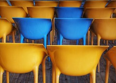 - color chairs - (-wendenlook-) Tags: color colors yello gelb blue blau chairs stühle abstrakt abstract olympus em5ii 123528 panasonic 70mm