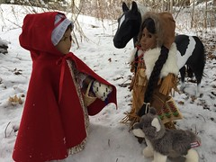 9. Chance encounter (Foxy Belle) Tags: american girl doll snow outside 18 inch ag 1700s 18th century red cloak felicity winter cold kaya native