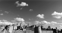 Waiting across the draw-bridge (Onlyshilpi) Tags: toweroflondon london monochrome blackandwhite panaroma europe cloudscape