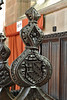 Checkley, Staffordshire, St. Mary & All Saints' church, chancel, stalls, finial with coat of arms